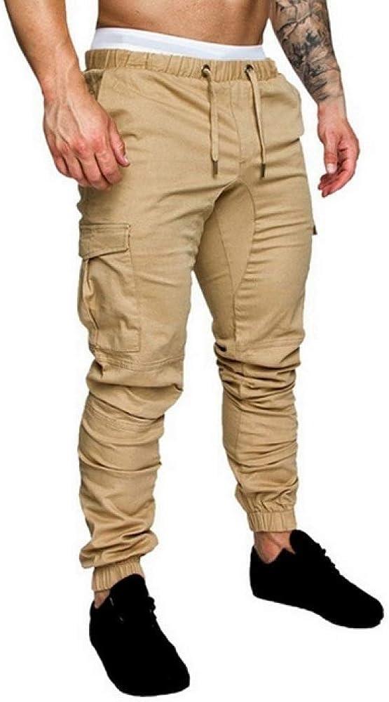 N/ A Pantalones Casuales para Hombre Fitness Ropa Deportiva Pantalones de chándal Pitillo Pantalones de Cintura elástica con cordón