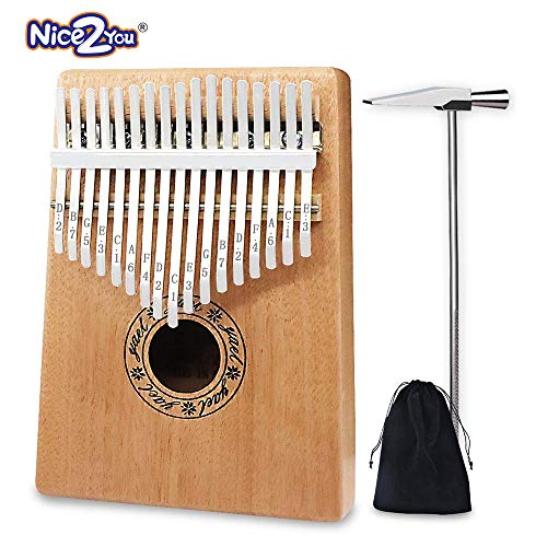 Kalimba Thumb Pianos Nice2you 17 Keys Finger Piano Solid Mahogany Body African Instrument Perfect for Music Lover/Beginners/Children