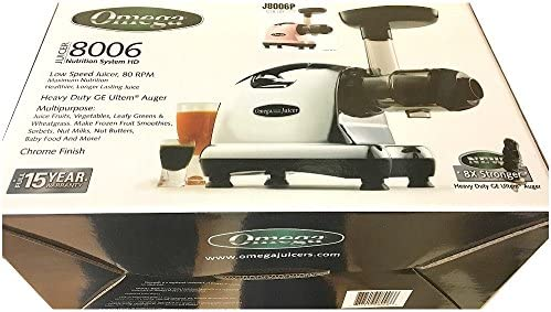 Omega J8006 Nutrition Center Quiet Dual-Stage Slow Speed Masticating Juicer Creates Continuous Fresh Healthy Fruit and Vegetable Juice at 80 Revolutions per Minute High Juice Yield