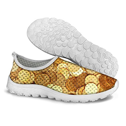 Sneaker Unisex's Casual Running Print Mesh Coin Stylish Shoes Yellow DESIGNS FOR U Dollar 2 0qzv6Y
