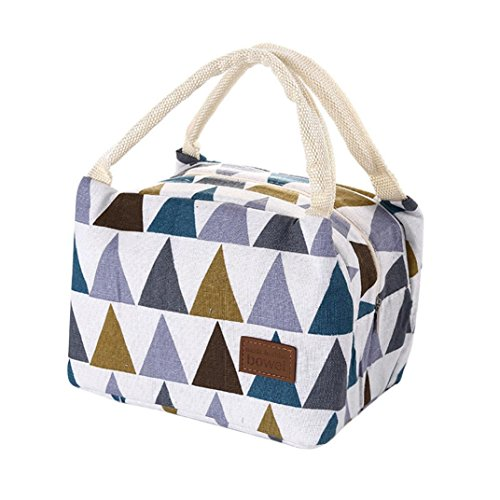 Kanzd Insulated Canvas Box Tote Bag Thermal Cooler Food Lunch Bags Bento Pouch Lunch Container Kids (D)