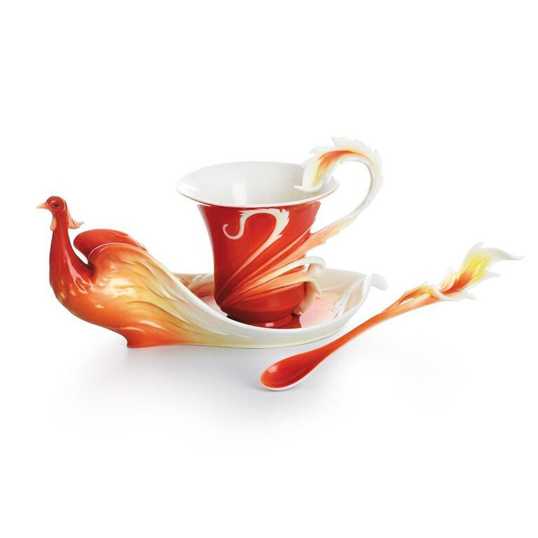 Franz Porcelain Phoenix in Flight bird cup/saucer/spoon set Franz Fine Porcelain