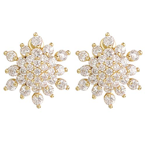 Yoursfs Clip Earrings for Women 18k Yellow Gold Plated Gorgeous Crystal Rhinestone Floral Clip On Earrings ()