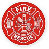 "1 Pc Awe-inspiring Unique Fire Rescue Window Sticker Sign Mac Apple Macbook Laptop Luggage Wall Graphics Hard Hat Labels Windows Stick Decor Vinyl Art Stickers Decal Patches Size 2"" Color White-Red"