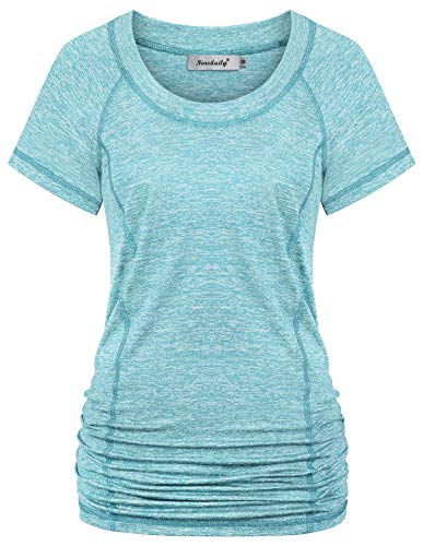 Ninedaily Womens Fitness Clothes,Workout Clothing Set Round Neck Long Shirts for Leggings Solid Color Quick Dry Breathable Hiking Tees Sweat Absorption Racerback Tank Tops Lightweight Blouse Aqua M