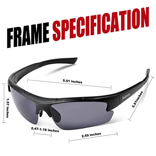 Duduma Polarized Designer Fashion Sports Sunglasses for Baseball Cycling Fishing Golf Tr62 Superlight Frame ((black matte frame with black lens)