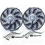 Upgr8 ventilador de radiador eléctrico de alto rendimiento universal de 12 V con kit de montaje de ventilador, Negro, 9 Inch (2 Pack)