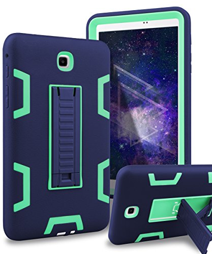 XIQI Samsung Galaxy Tab A 8.0 Case Three Layer Hybrid Rugged Heavy duty Shockproof Anti-Slip Case Full Body Protection Cover for Tab A 8.0 inch 2015 release (Not fit 2017),Navy Blue/ Green
