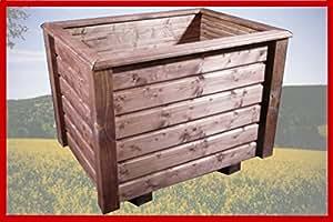 Maceta classiv 110x 40x 40cm de madera barnizado con barniz para madera Nogal