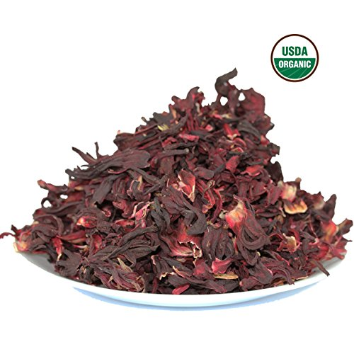 Hibiscus Tea 1LB (16Oz) 100% CERTIFIED Organic Hibiscus Flowers Herbal Tea (WHOLE PETALS), Caffeine Free in 1 lbs. Bulk Resealable Kraft BPA free Bags from U.S. Wellness by U.S. Wellness Naturals (Image #2)