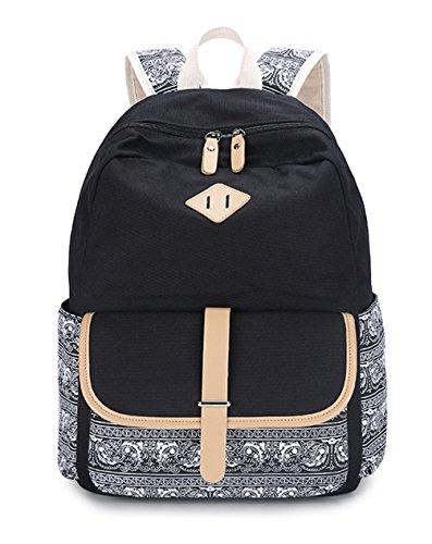 Black Lightweight Cute Canvas Backpacks Teen Cute Fashion Bag for Backpack Girls Young Keshi Y7gaOqa