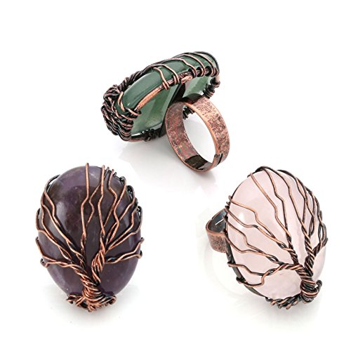 Top Plaza Handmade Retro Vintage Copper Wire Wrapped Tree of Life Oval Gemstone Healing Crystal Adjustable Ring Bronze Band Size 6 7 8(Amethyst+Rose Quartz+Green Aventurine) ()