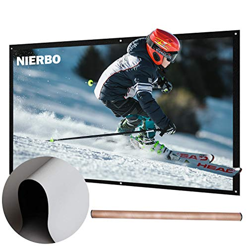 72 inch Projector Screen Rolled Up Portable Screen Diagonal 16:9 for Outdoor Indoor 4K Full HD Projection Screen Wrinkles Free