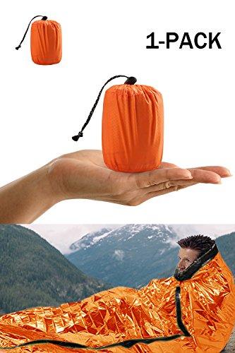 Shayson Saco de Emergencia Dormir,Aislamiento Térmico, Exterior Brillante Naranja Fácil de Localizar Portátil,para Acampar Supervivencia Al Aire Libre 1