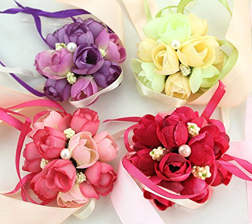 Wenmeili Wedding Bridal Bridesmaid Exquisite Floral Wrist Flower Wrist Corsage for Prom, Party, Wedding, 4-Pack (Red, White, Purple , Pink) (Wrist Corsage Prom)