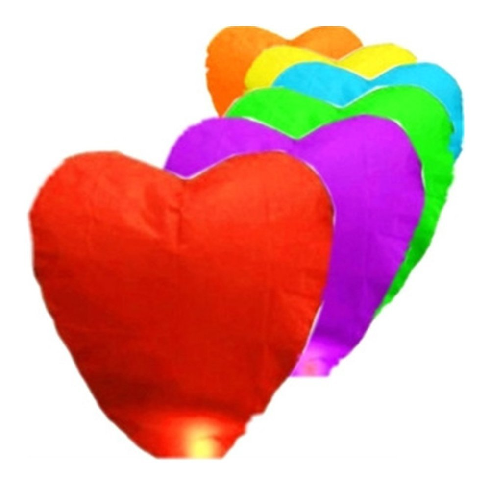 Pixnor 10pcs Heart Shaped Sky Lantern Chinese Kongming Lantern Wishing Lamps (Random Color) TRTAZ11A