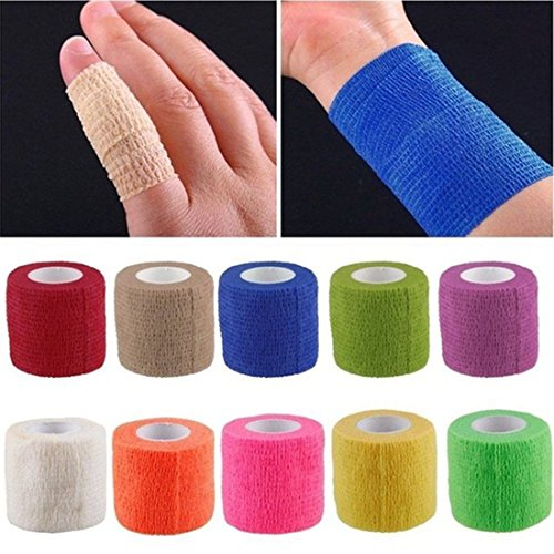 "Ycxbox Sterile Self-Adherent Stretch Sensi-Wrap Elastic Bandage First Aid Medical Health Treatment Gauze Tape, 5 yds Length x 2"" Width (Pack of 10)"