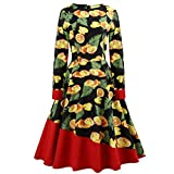Women Vintage Hepburn Style Floral Print Dress Retro High Waist Long Sleeve Casual Evening Party Prom Swing Dress (L, Yellow)