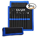 Anti-static ESD Tweezers Set, Eaxer Precision Tweezers Tool Kit, Non-magnetic Stainless Steel Tweezers with Storage Bag for Electronics, Jewelry-making, Laboratory Work, Hobbies (9 Pieces)