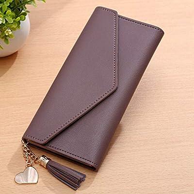 Wallet Handbag Leather Long Card Cash Holder Phone Bag Easy to use Lightweight (Color - Puce)