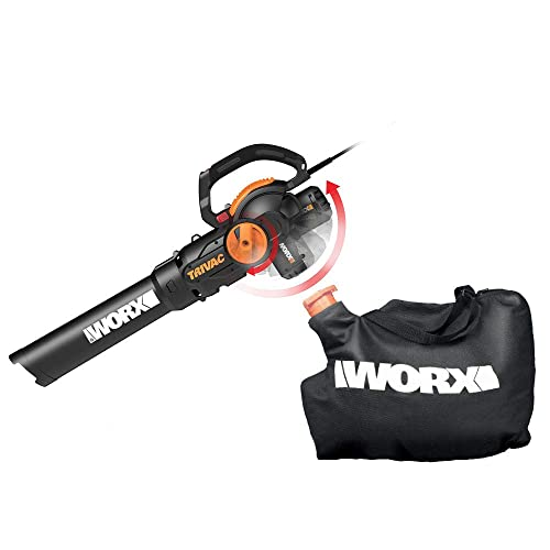 WORX WG512 Trivac 2.0 Electric 12-amp 3-in-1 Vacuum Blower Mulcher Vac, Black and Orange