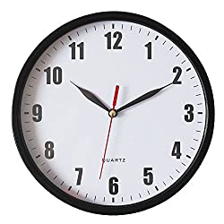 8 Silent Wall Clock Non-ticking Decor Digital Quartz Wall Clock Battery Operated Easy to Read Round Wall Clock(Black)