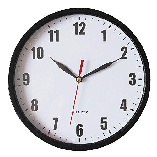8 Silent Wall Clock Non-ticking Decor Digital Quartz Wall Clock Battery Operated Easy to Read Round Wall Clock(Black)