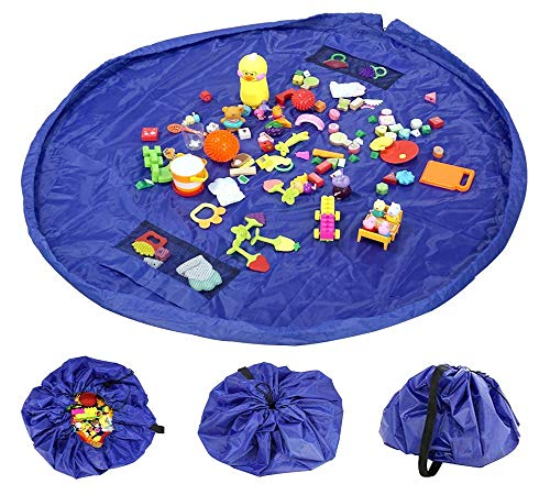 Quick Drawstring Toys Storage Mat Bag and Kids Floor Activity Toys Mat (60-inches) Toys Organizer Bag Picnic/Camping Mat Pad Storing Cleanup Lego Toys in 50 Seconds - Drawstring Turns into Pouch