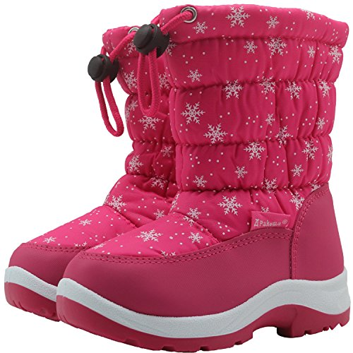 Apakowa Kinder Schneestiefel Warm Gefütterte Winterstiefel Winter Winterschuhe Snowboots für Mädchen (Color : Peach, Size : 6 UK/24 EU)