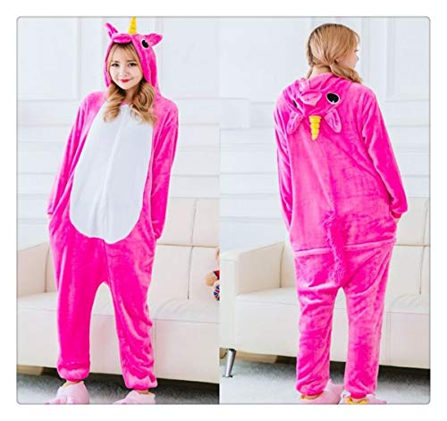 Unicorn Stitch Panda Unisex Flannel Pajamas Adults Anime Animal Onesies Winter Warm Sleepwear Hoodie for Women Men Red Pegasus S -