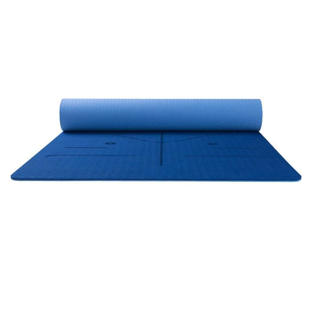 Bleu Tapis d'exercice Tapis de yoga Fitness Double face professionnel antidérapant Dynamique Débutant Tapis de fitness Bounce Sports avec guide de position Système d'alignement du corps Multi-couleur en op