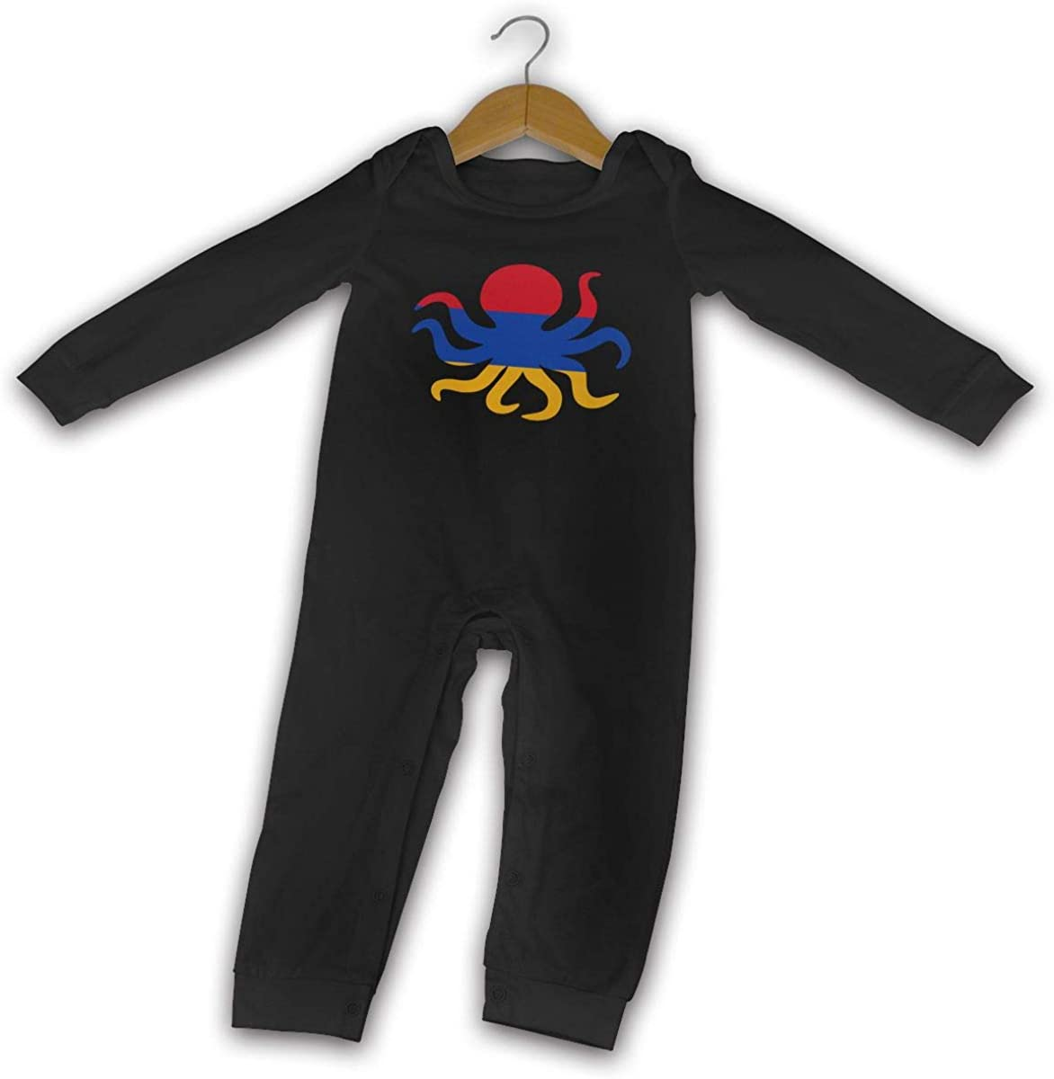 YELTY6F Octopus Armenia Flag Printed Baby One-Piece Suit Long Sleeve Rompers Black