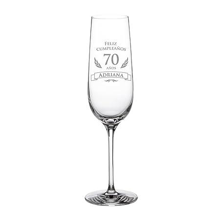 AMAVEL – Copa de Cava – 70 Cumpleaños – Personalizada – con Elegante Felicitación – Idea de Regalo para Cumpleaños – Regalo para Hombres y Mujeres – ...