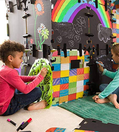 HearthSong® Fantasy Fort Full Chalkboard Fort Building Kit - Velcro Connectors - Carton Building Clips - Includes 16 Panels - Each Panel Measures 22 W X 22 H