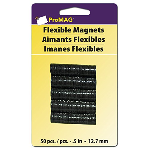 ProMag Flexible Round Magnets, 0.5-Inch, 50-Pack, 457450