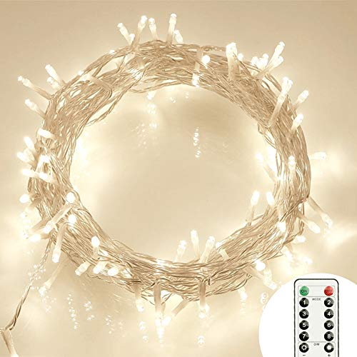 [Remote and Timer] 40 LED Outdoor Fairy Lights - 8 Modes Battery Operated String Lights (120 Hours of Lighting, IP65 Waterproof, Warm White) (Wreath Outdoor Led)