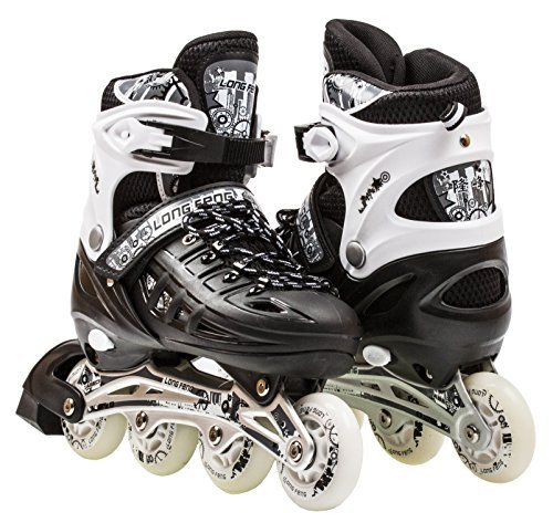 Kids Adjustable Inline Roller Blade Skates Scale Sports Black Large Sizes Safe Durable Outdoor Featuring Illuminating Front Wheels 905 by Scale Sports