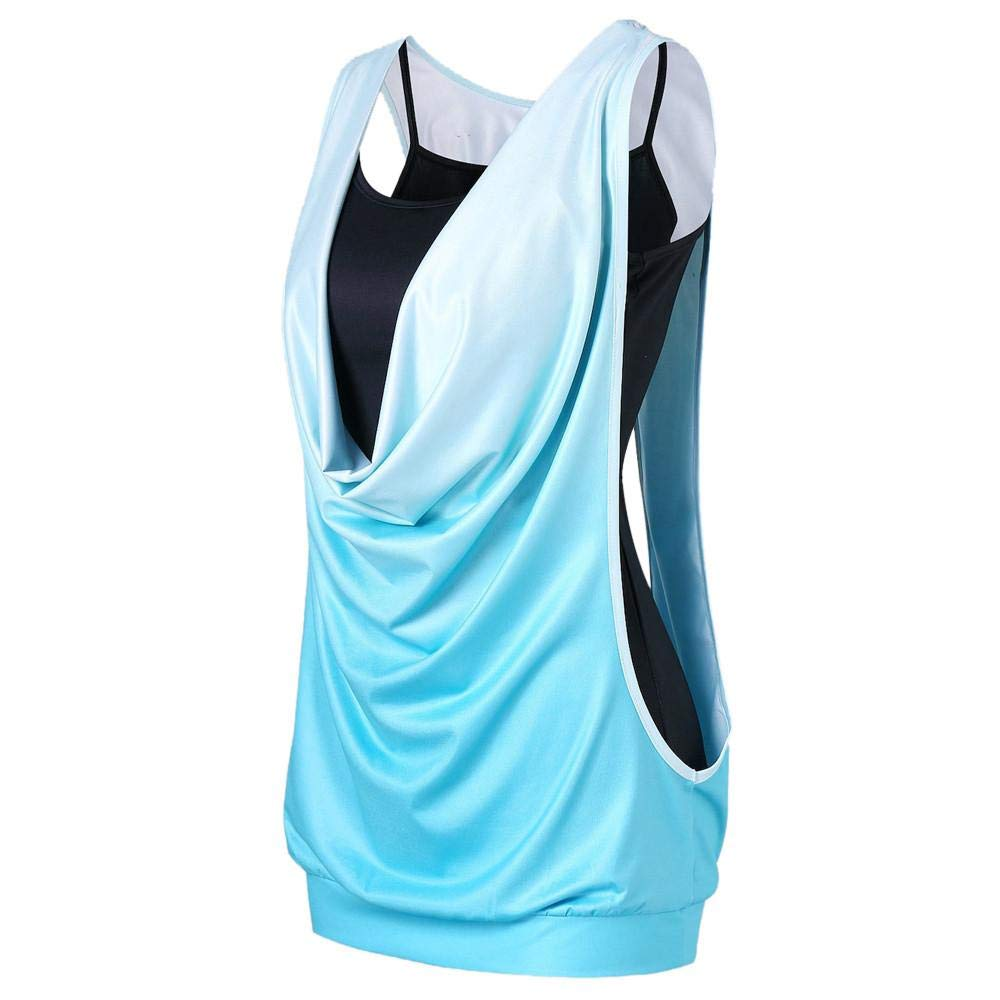 STORTO 2PCS Womens Summer Solid Tank Tops Sleeveless Hollow Out Camis+Vest Set Tops Green