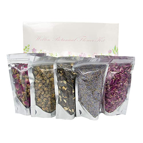 Wellcn Botanical Flowers Kit -French Lavender, Jasmine green tea, Premium Chrysanthemum, Rose Buds & Petals,Great for daily drink and Many Craft Projects-100% Natural No Additives (Dried Flower Buds)