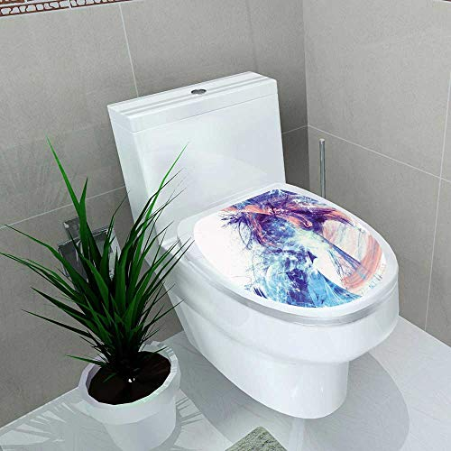 Auraise-home Waterproof & Removable Stickers Shiny Smoke in Blue and Pink Color Abstract Futuristic Dynamic Bright with Lighting Bathroom Toilet Cover Sticker W13 x L13