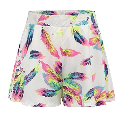 JackenLOVE Estivo Moda Piuma Stampa Short Pantaloni Shorts da Spiaggia Vita Alta Pantaloni Donna Corto Pantaloncini Bianco