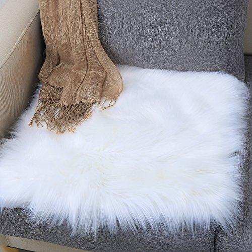 Junovo Premium Soft Square Faux Fur Seat Cushion Plush Sheepskin Chair Cover,19.7