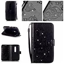 Moto G 3rd Gen Case,LYO [Card Slot] Embossing Butterfly Inlaid Shiny Diamond Premium PU Leather Wallet Clamshell Fashion Case Cover for Motorola Moto G G3 (3rd Gen, 2015) with Hand Strap [Black]