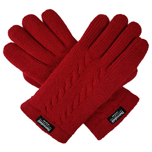 Bruceriver Ladie's Pure Wool Knit Gloves with Thinsulate Lining and Cable design Size S (Red) by BRUCERIVER