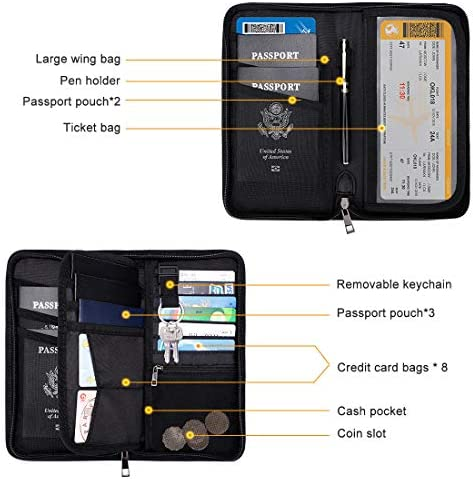 Passport Holder RFID Travel Wallet Waterproof & Fireproof Tickets Itinerary Document Organizer with Zipper/Strap for Woman & Man & Family Fit 5 Passports
