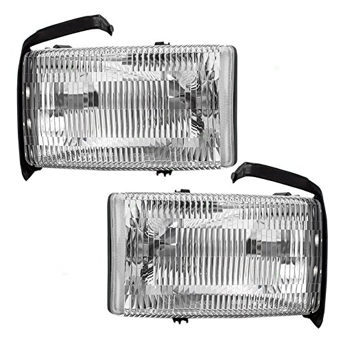Headlights Headlamps Driver and Passenger Replacements for Dodge Ram 94-01 1500 & 94-02 2500/3500 Excluding Sport Package Pickup Truck 55076749AO 55076748AO