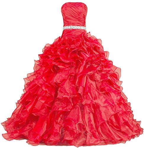 878f9471a9b ANTS Women s Pretty Ball Gown Quinceanera Dress Ruffle Prom Dresses ...