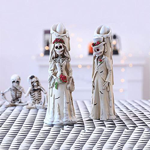 TIKENBST Halloween Horror Scheletro Fantasma Sposa Sposo Decorazioni Per Candele Elettroniche Creativo Dress Up Puntelli Per