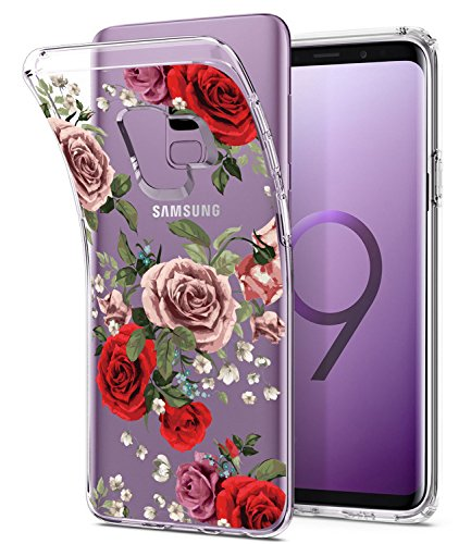 Galaxy S9 Case, Floral Flower Design Clear Case, JDBRUIAN TPU Soft Protective Case Flexible Silicone Glossy Skin Cover Phone Case for Samsung Galaxy S9 (2018) Red Roses (Case Phone Red Skin Clear)