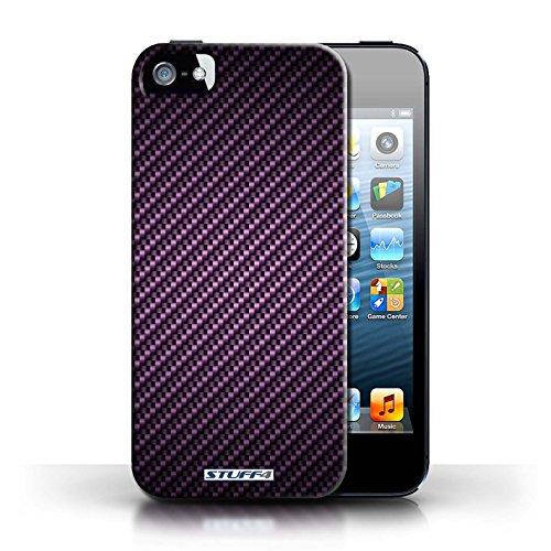 Etui pour Apple iPhone 5/5S / Pourpre conception / Collection de Motif de Fibre de Carbone